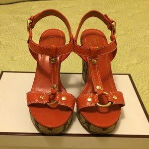 Coach Mary Alice Orange Python print wedge heels